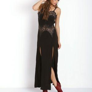 For Love & Lemons Bourbon Black Lace Maxi Dress